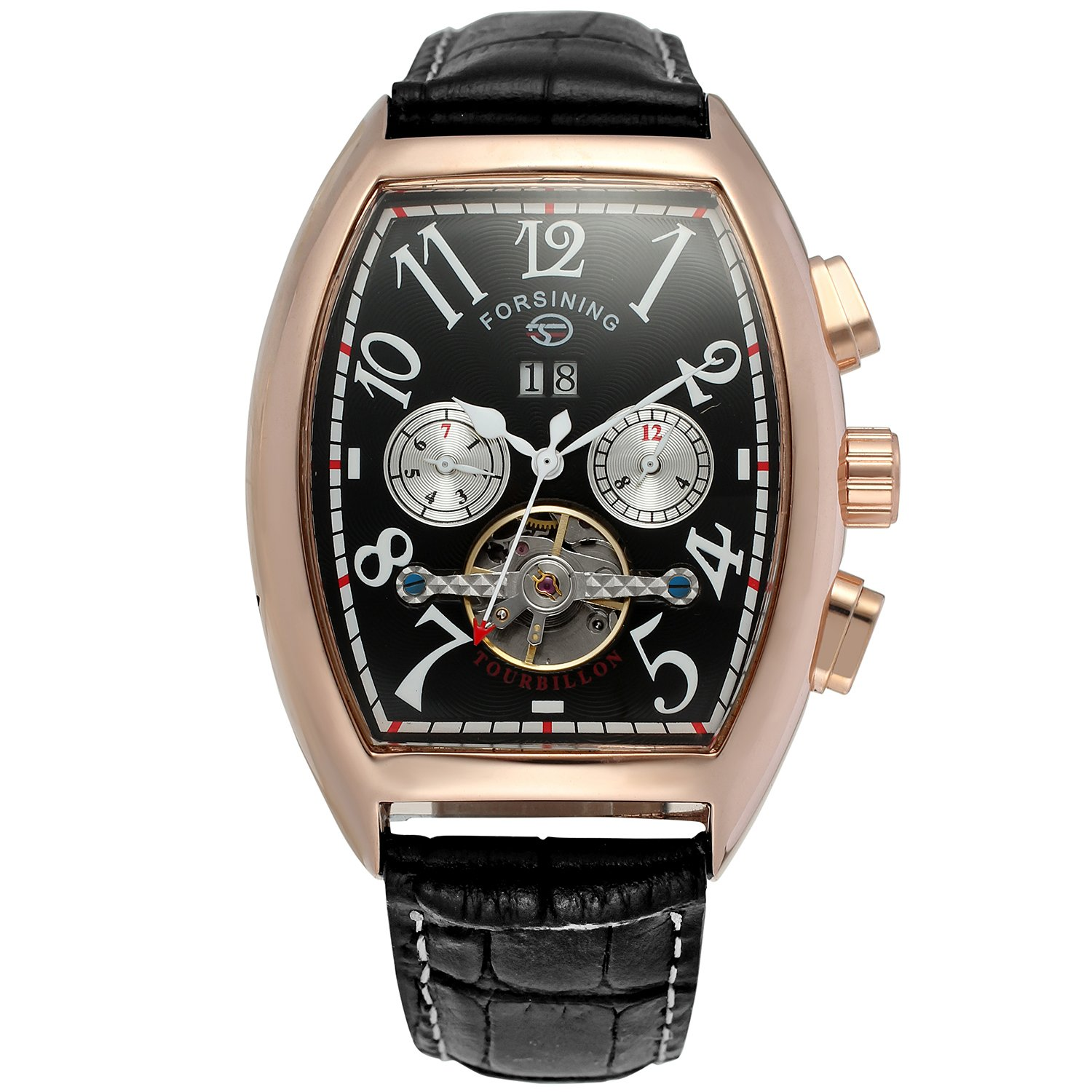 Forsining Men's Automatic Self-winding Tourbillon Calendar Brand Learher Strap Collectiton Watch FSG9409M3R5 by FORSINING (Image #6)
