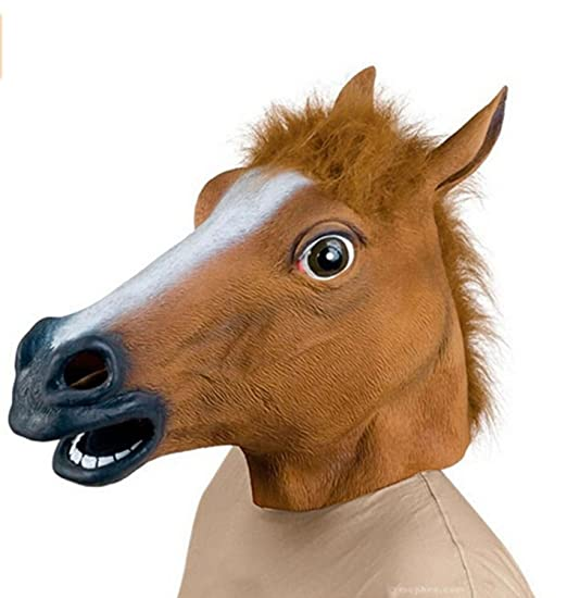 Demarkt Novelty Latex Horse Head Mask(Brown)