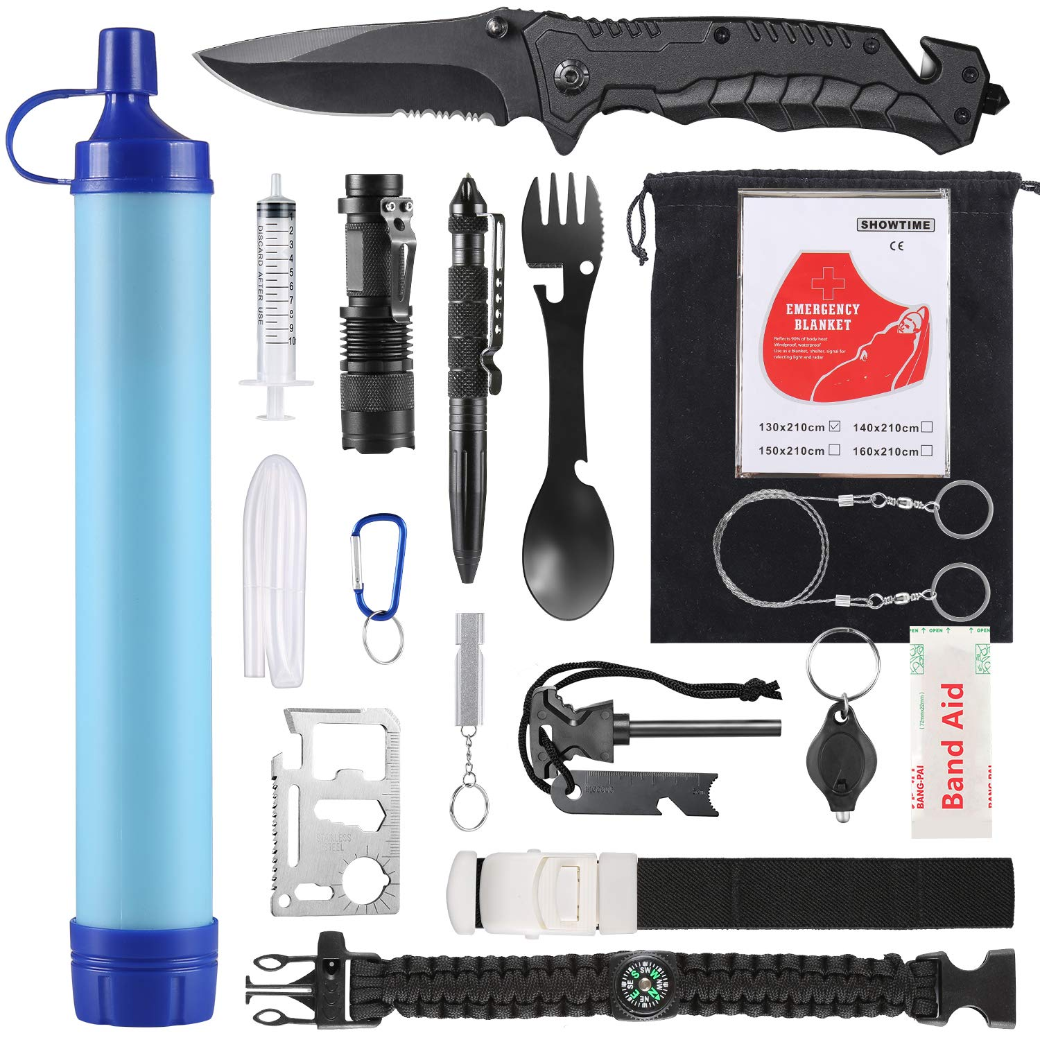 SUPOLOGY Emergency Survival Gear Kits -23 in 1 Outdoor Tactical Tools for Hiking/Adventures/Climbing Necessary - Water Filter,Flashlight,Tactical Pen,Spoon Fork,Survival Bracelet, Fire Starter ect. by SUPOLOGY