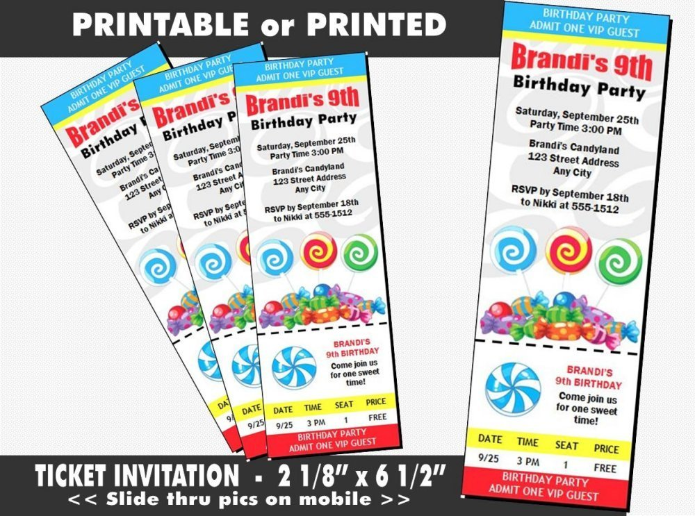 Amazon Candyland Birthday Party Ticket Invitation Printable Or
