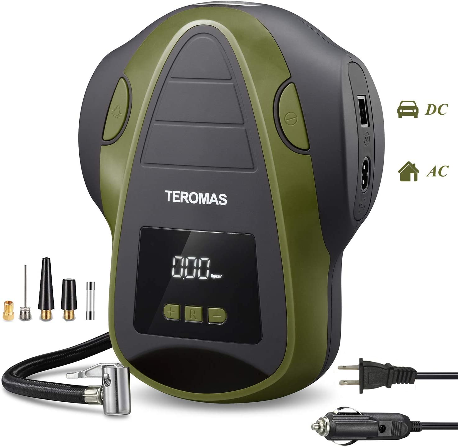 TEROMAS Tire Inflator Air Compressor, Portable Air Pump for Car Tires 12V DC and Other Inflatables at Home 110V AC, Digital Electric Tire Pump with Pressure Gauge(Green)