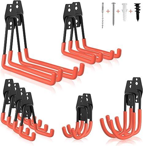 escaleras paquete de 4 organizador de gancho en U para herramientas Ganchos dobles de acero para almacenamiento de garaje cuerdas mangueras perchas resistentes soporte de montaje en pared