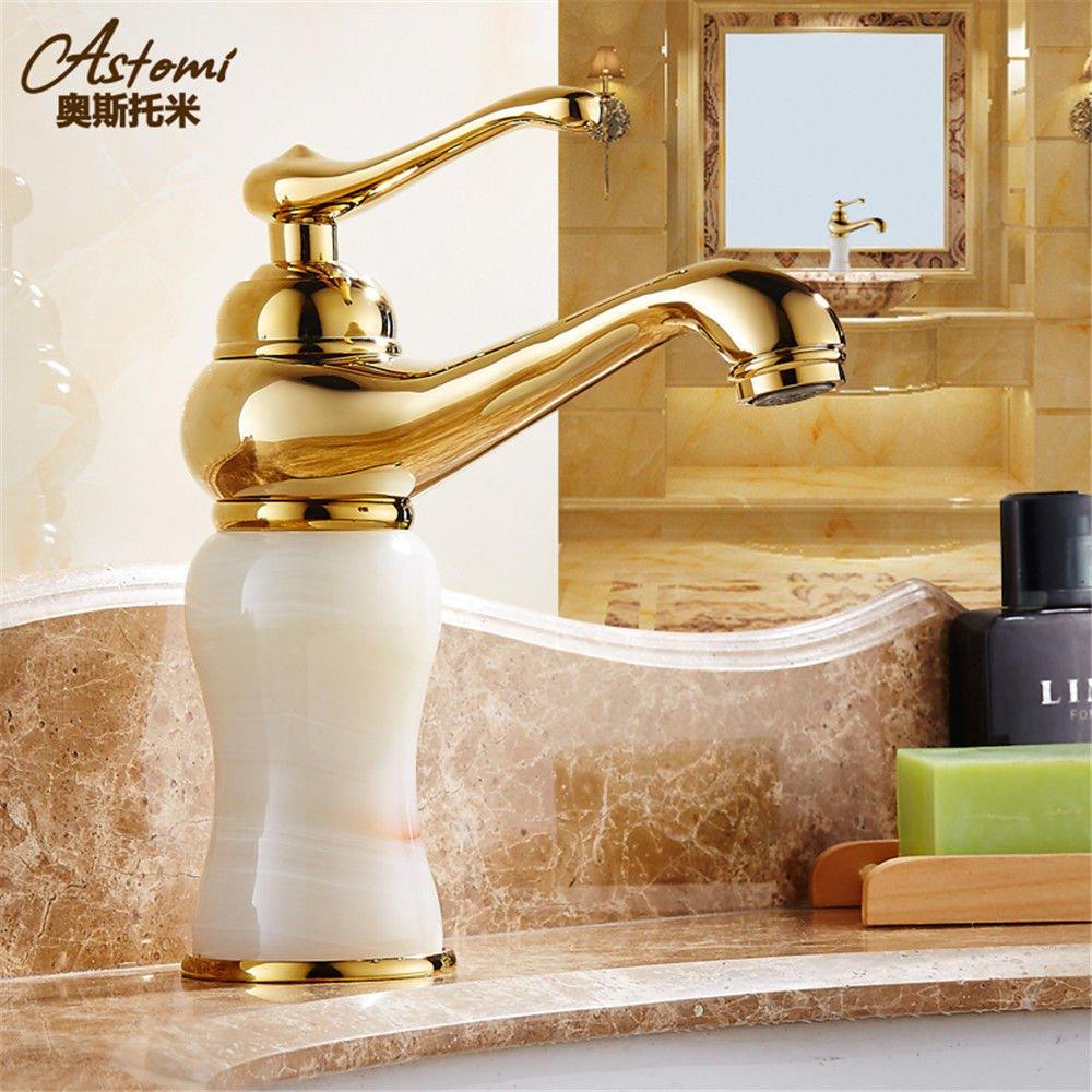 NewBorn Faucet Wasserhähne Warmes und Kaltes Wasser Größe Qualität der Gold-Copper natürliche Jade Wasser S antiken Tisch Becken mit Kalten und Warmen Marmor Tippen