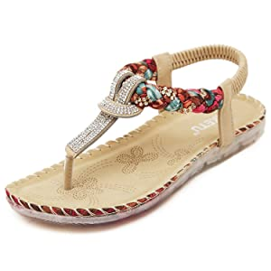 Brucest The Fashion Women Girls Sweet Summer T-Strap Thong Sandals Bohemia Beaded Flats Shoes Flip Flops Apricot7 B(M) US New Style.