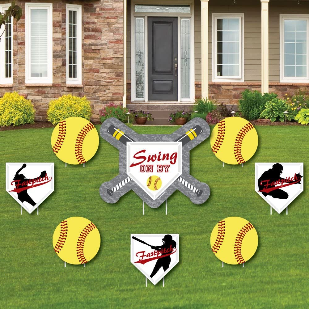 Grand Slam - Fastpitch Softball - Yard Sign & Outdoor Lawn Decorations - Birthday Party or Baby Shower Yard Signs - Set of 8