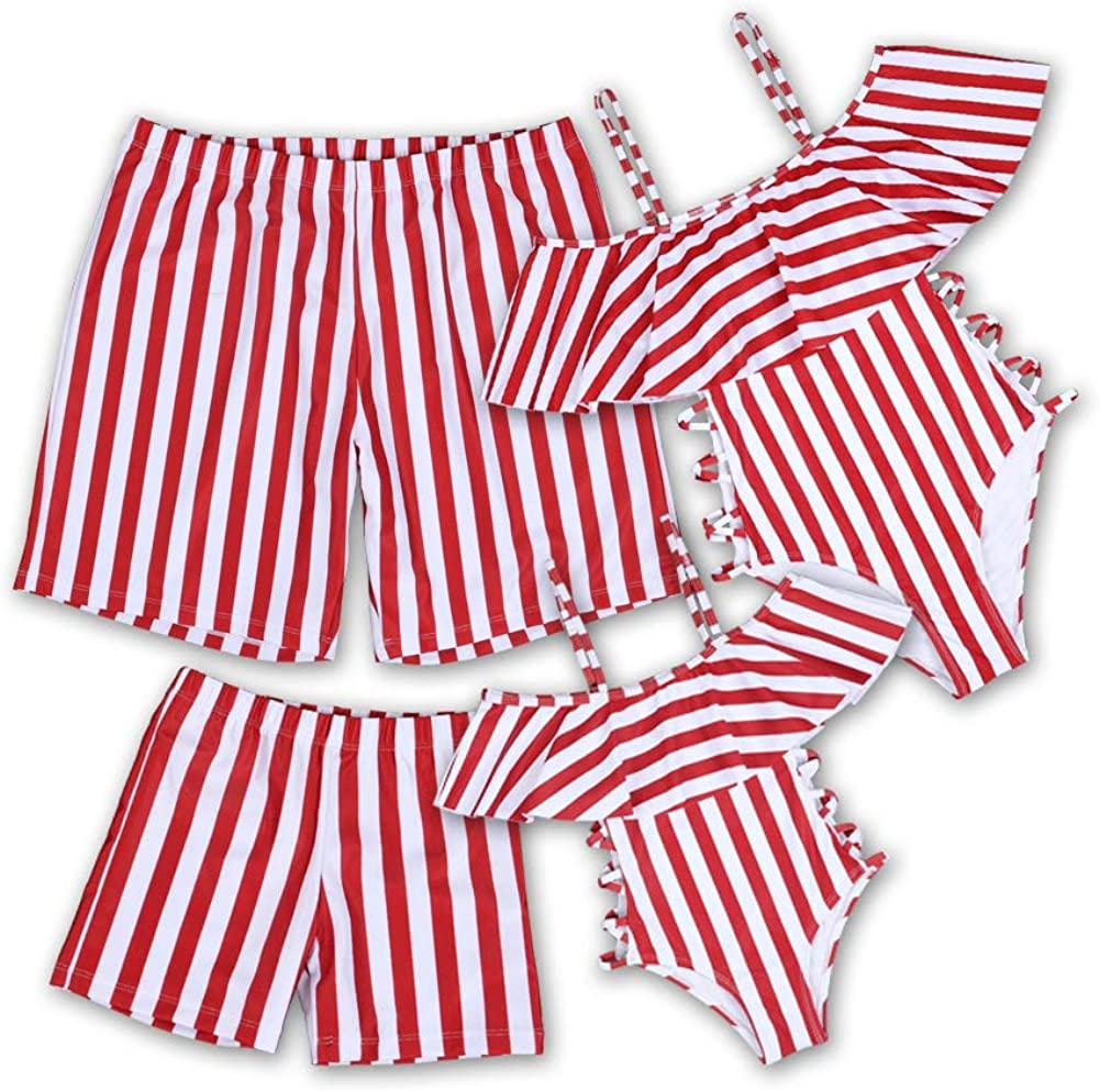 Family Matching Swimsuit Mommy and Me One Piece Swimsuit Off Shoulder Ruffled Bathing Suits for Family