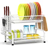 Dish Drying Rack, iSPECLE Premium 304 Stainless Steel 2-Tier Dish Rack with Utensil Holder, Cutting Board Holder and Dish Dra