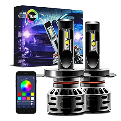Autolizer H4 HB2 9003 RGB Multi Color LED Headlight Conversion Kit Bluetooth App Control Bulb: Automotive