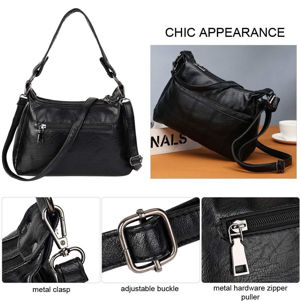 Vbiger Handtasche Damen PU Leder Umhängetasche Damen Vintage Handtaschen Große Schultertasche Beuteltasche Schwarz