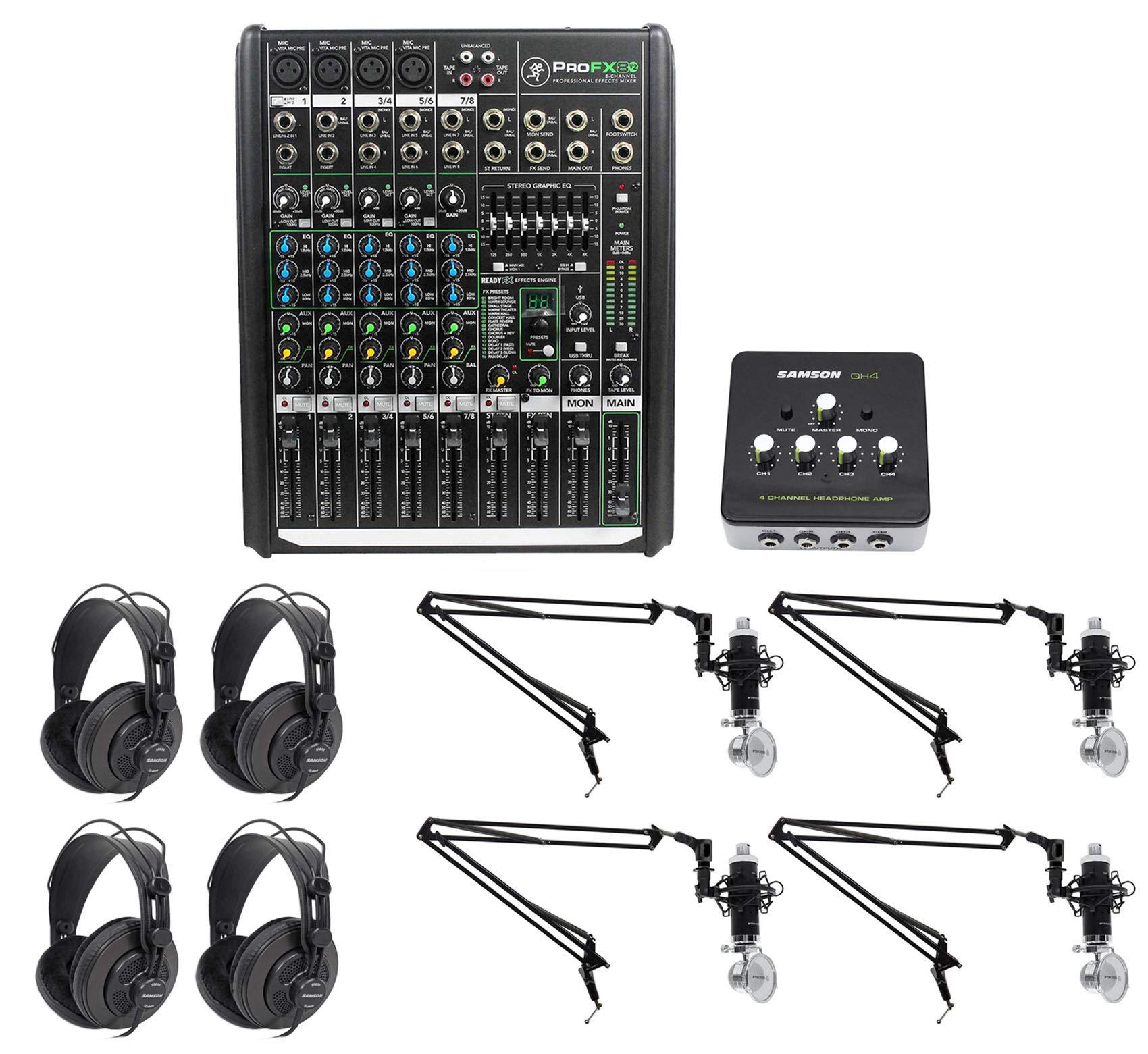 Podcast Studio Bundle w/Mackie 8-Ch Mixer+4) Mics+4) Samson Headphones+4) Booms