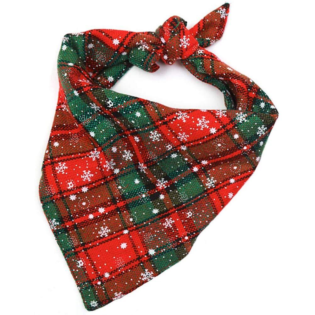 2Pcs Dog Bandana Christmas Plaid Snowflake Pet Scarf Triangle Bibs Kerchief Set Pet Costume Accessories