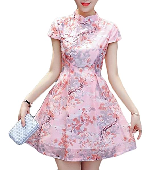 Mirror Womens Floral Printed Buckle Decorated Short Sleeves Vogue Chinese Prom Dress Pattern1 XS