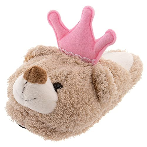 3e708731f9c Image Unavailable. Image not available for. Color  Crown Princess Bear  Plush Kids Size 12 Slip Resistant Slippers Pink