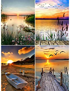 DIY Rhinestone Embroidery Cross Stitch Patterns Arts Craft for Home Wall Decor Late Night Landscape House Boat Water Dusk 12x16in//30X40cm 4 Pack 5D Diamond Painting Kits Full Drill