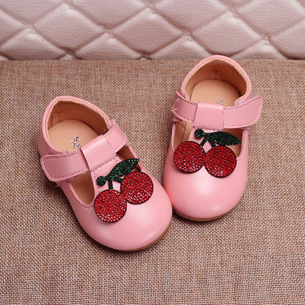 SOMESUN Baby Girls Single Shoes Cute Cartoon Elegant Crystal Soft Casual Dance Leather Princess Shoes