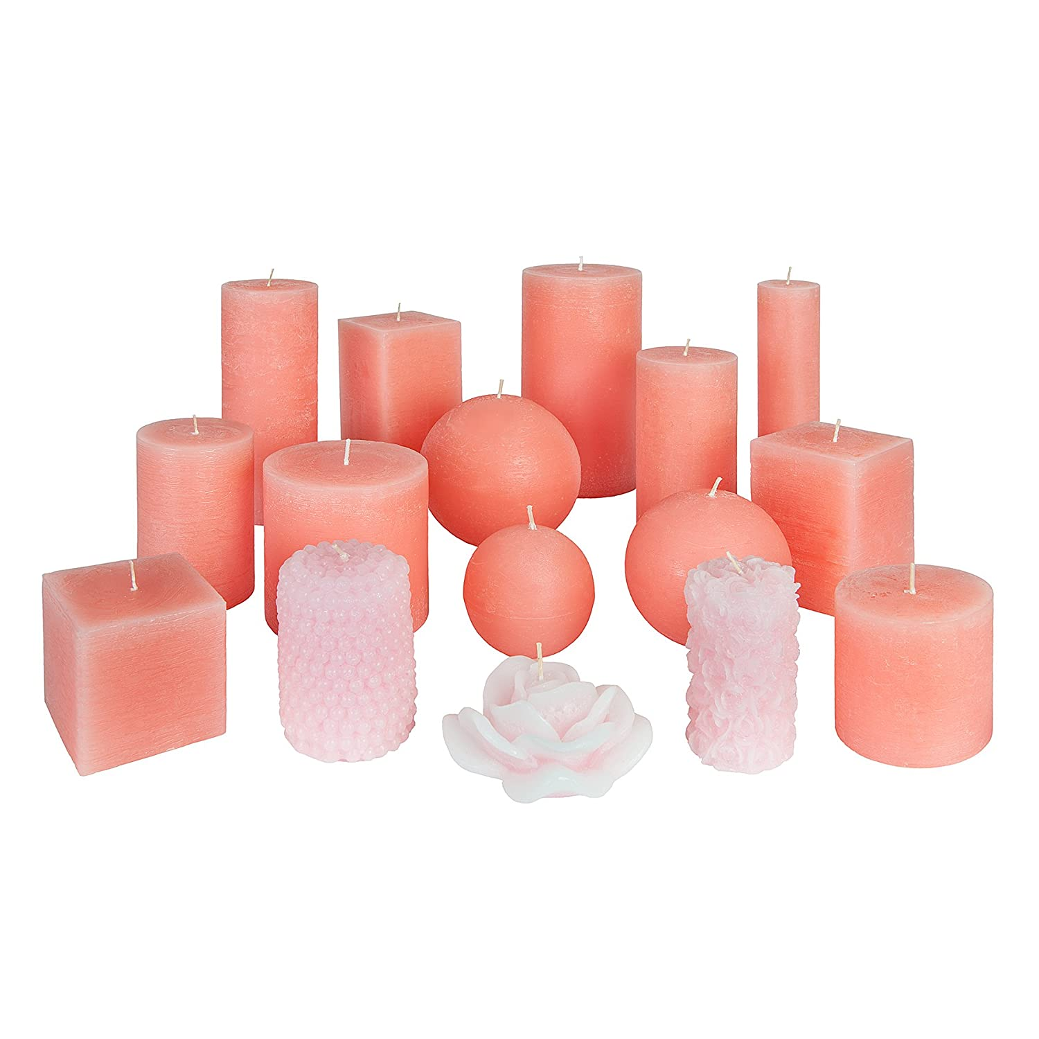 Fragrance-Free Set of 3 Candle Atelier Coral Pink 3 Handmade Round-Shaped Candles