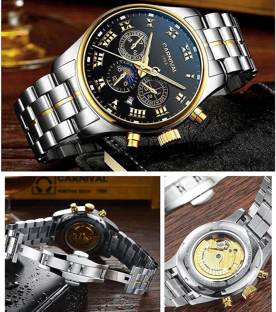 CARNIVAL Orologio da Uomo, Impermeabile Orologi da Polso Mostra Data Settimana e Mese Scala di 24 Ore Automatico Orologio Meccanico 8687G Steel Strap - Gold Black