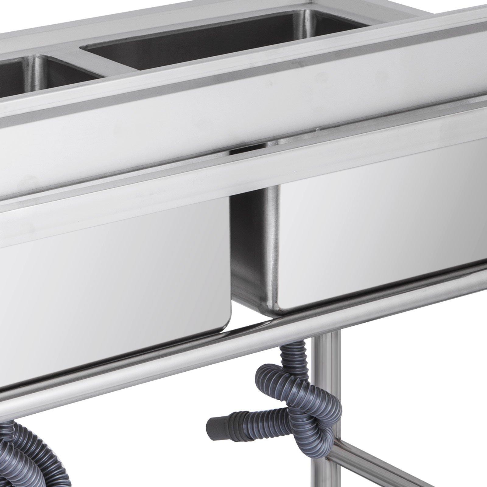 "Mophorn 2 Compartment Stainless Steel Bar Sink 15.5"" x 16.5""Bowl Size Handmade Underbar Sink for bar, kitchen restaurant by Mophorn (Image #4)"