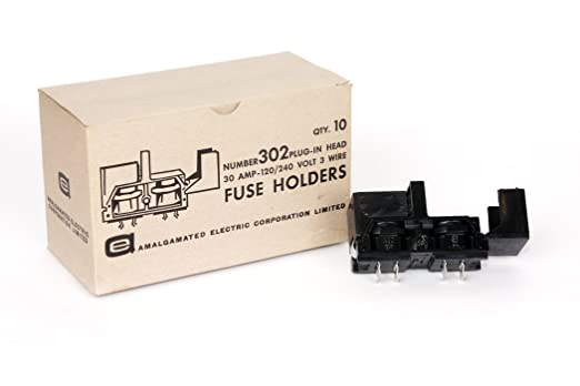 10 pieces per box 120//240V 3Wire Amalgamated Electric 302  30Amp Fuse Holder