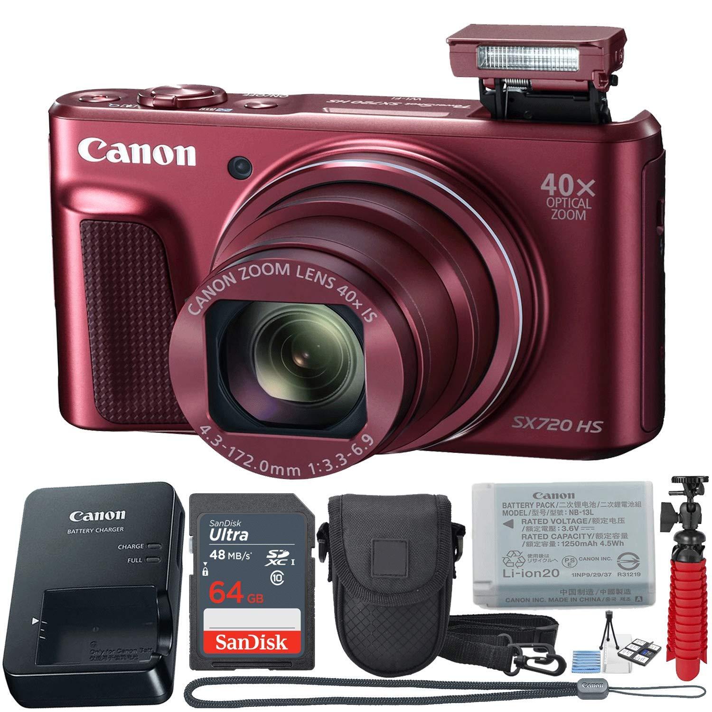キヤノン PowerShot SX720 HS 20.3 MP Wi-Fi デジタルカメラ 40倍光学ズーム & HD 1080pビデオ (レッド) 12個バリューセット   B07KBF4CZC