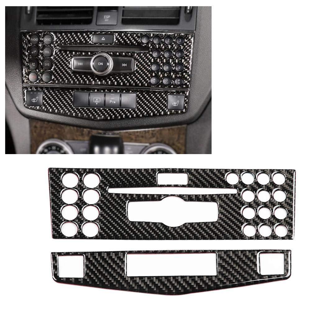 2PCS Carbon Fiber Car Interior Decorative Trim Control Panel Frame for Mercedes C Class Left Drive Aramox Car Control Panel Trim B