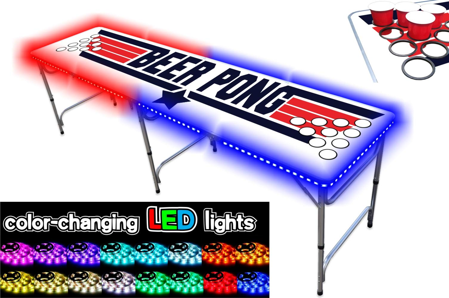 8-Foot Professional Beer Pong Table w/Cup Holes & LED Glow Lights - Top Pong Edition by PartyPongTables.com