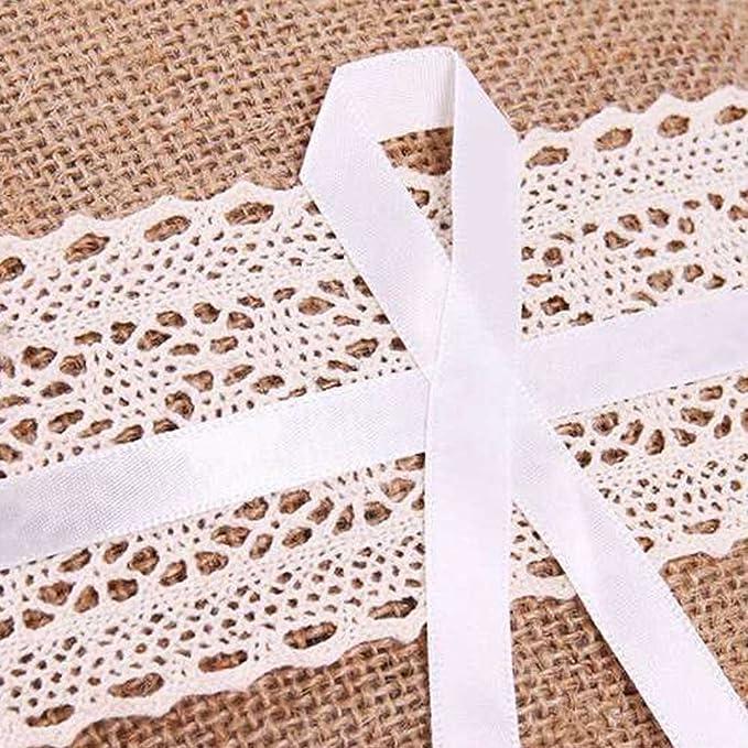Amazon.com: chuangli encaje lazo de cinta de lino almohada ...