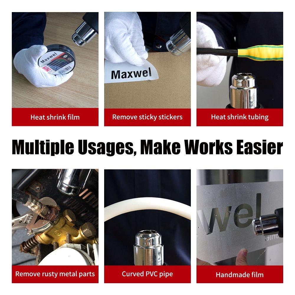 Heat Gun Hot Air Vinyl Shrink - Maxwel Electric Industrial Use Temp Adjustable Heavy Duty Hot Air Guns Heat Gun Kit for Heat Shrink Tube, Wire Connectors, Paint Stripping 120V 2000W by Maxwel Manufacturing (Image #7)