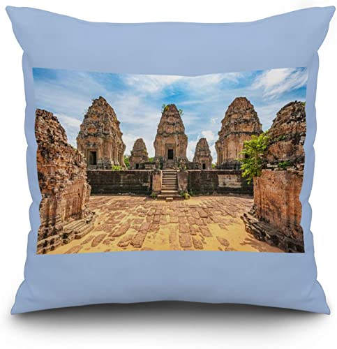 Lantern Press Angkor Wat, Cambodia – Ancient Buddhist Khmer Temple A-9005396 20×20 Spun Polyester Pillow, Custom Border