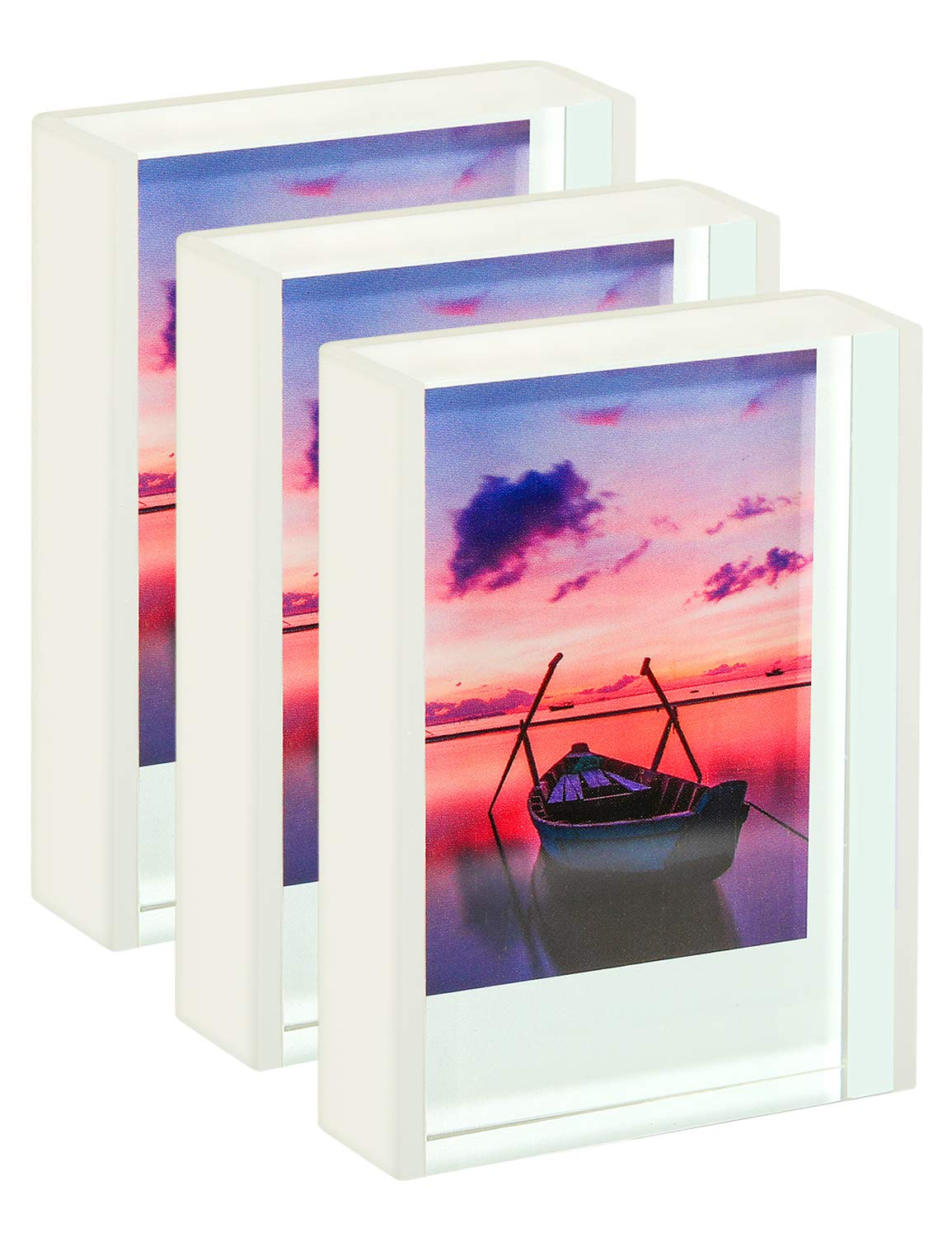 WINKINE Acrylic Small Picture Frame 2x3, 3 Pack Instax Mini Clear Cute Picture Frame for Tabletop & Desktop, Freestanding Sliding Photo Display for Fujifilm & Polaroid Film by WINKINE