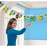 Banderolas de cumpleaños Amscan International de los teletubbies con edad personalizable,9901446,1,7m x 14cm