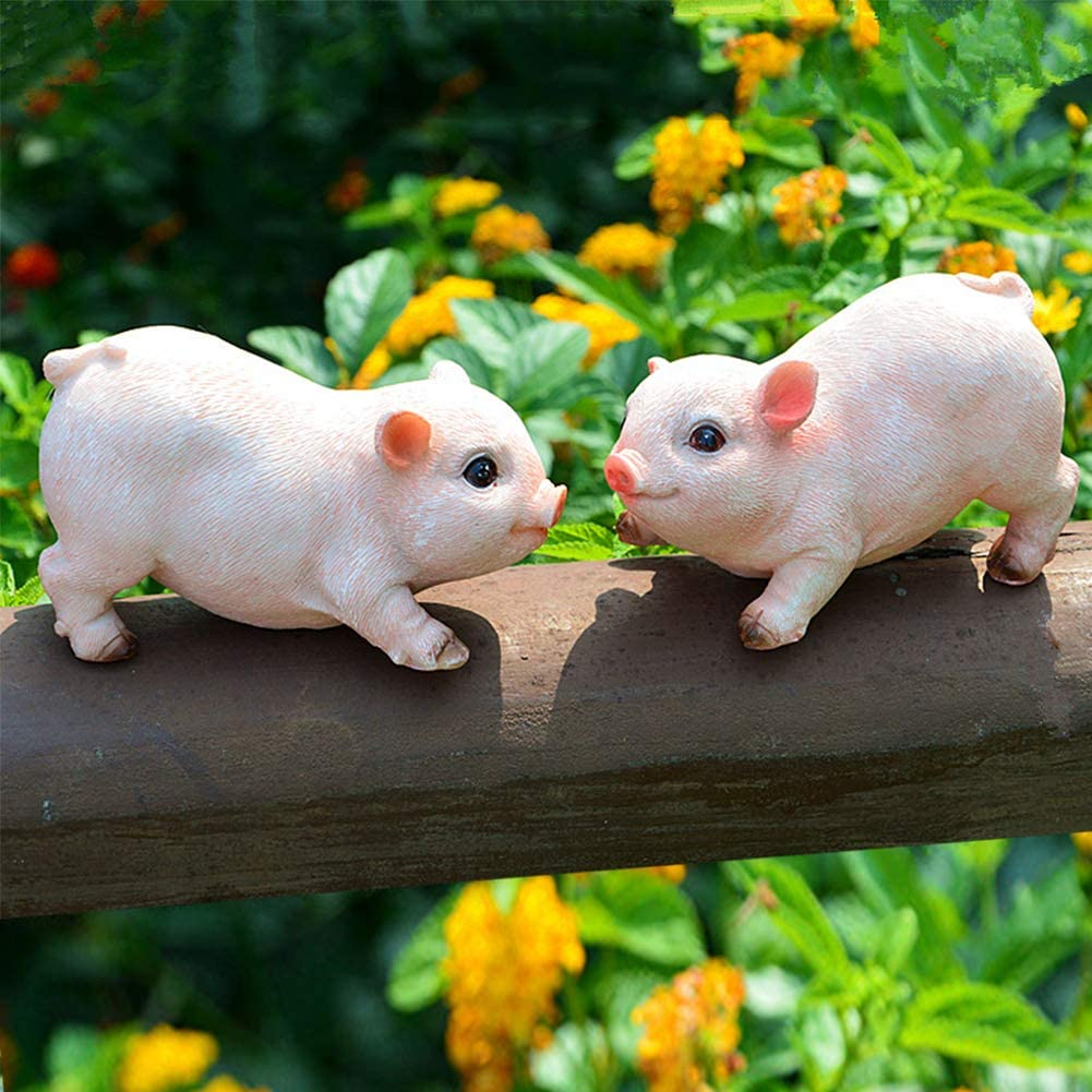 XIFIRY Animal Garden Gnomes Statue Cute Pig Funny Outdoor Sculpture Resin Lawn Ornaments Décor Indoor Outdoor Figurines for Garden and House (Two Piglets)