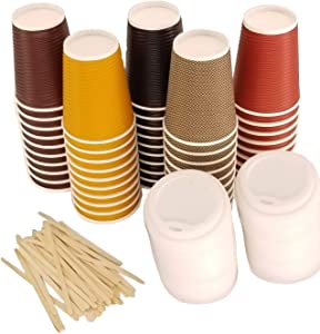 ShupaCups | 50 Pack of Premium 12oz Biodegradable Paper Coffee Cups | Includes tight fitting PLA Lids & Wooden Stir sticks | Insulated Double wall | 5 colors!