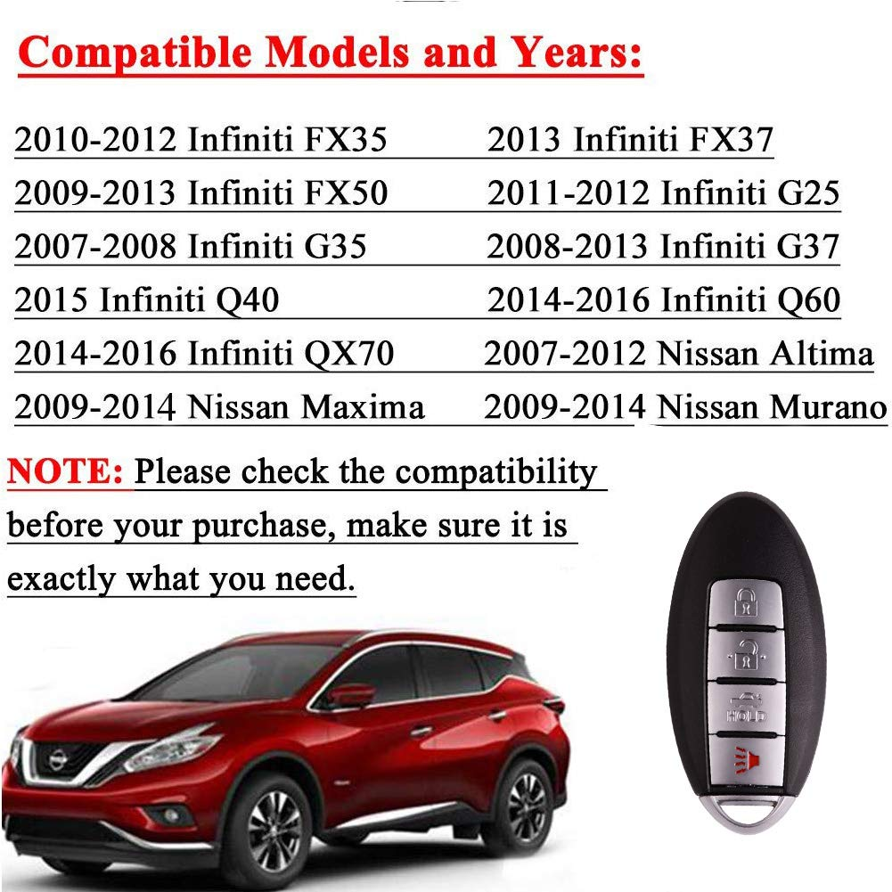 BESTHA 4 Button Replacement Keyless Entry Remote Control Car Key Fob for 2009-2014 Nissan Maxima,2009-2014 Nissan Murano,2007-2012 Nissan Altima KR55WK48903 KR55WK49622