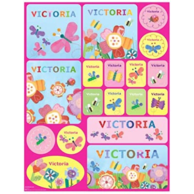 Stickers for Children, Kids, Girls, Personalized Name Labels, Spring Flowers : Baby