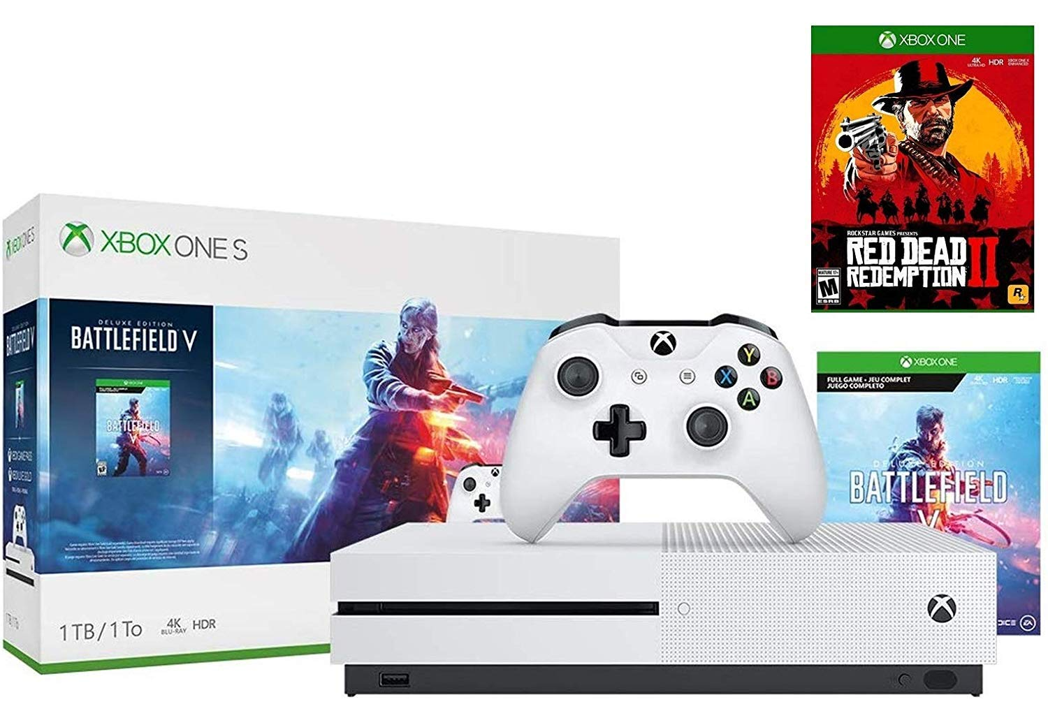 Xbox One S 1TB Battlefield V Console Bundle With Red Dead Redemption 2: Red Dead Redemption 2, Xbox One S 1TB Console, Wireless Controller
