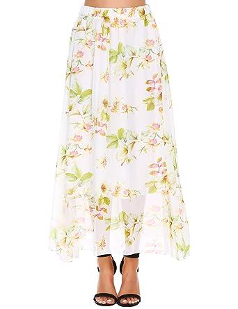 404f17607 Maxi Pleated Floral Chiffon Skirt, Women's Long Boho Elastic High Waist  Full Length Flowy Print Skirts for Girls