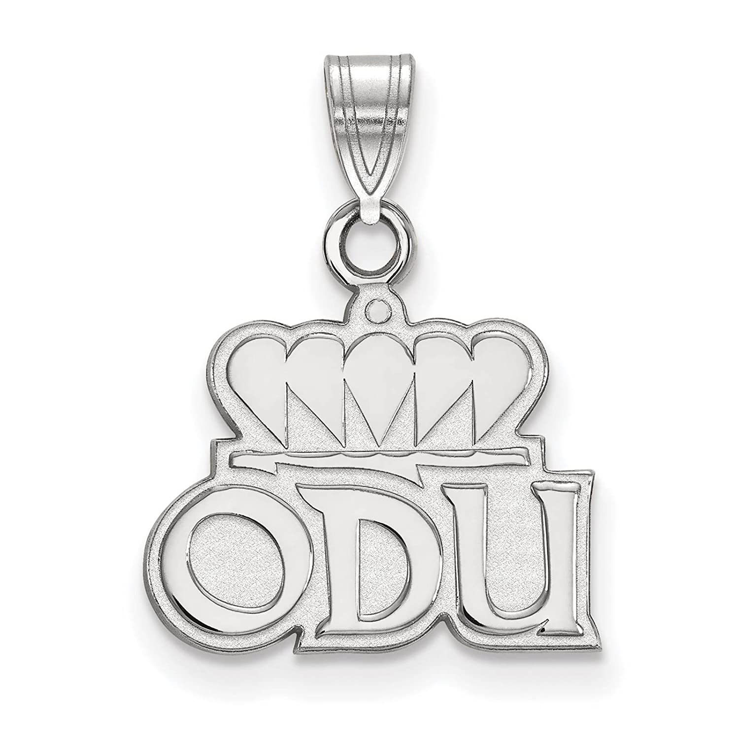 925 Sterling Silver Rhodium-plated Laser-cut Old Dominion University Small Pendant