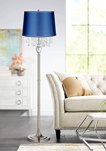 Modern Contemporary Chandelier Style Floor Lamp Brushed Nickel Chrome Silver Crystal Accents Medium Blue Satin Drum Shade Decor