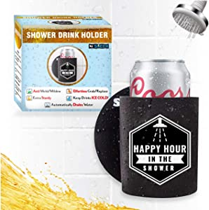 Sheer - Shower Drink Holder - Extra Sturdy - Stays Clean, Easy Grab/Replace Design, Drains Water - Keep Beer Ice Cold