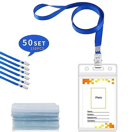 Gimars [3 SETS] ID Badge Holder/tarjeta identificativa colgante y funda tarjeta identificación horizontal para conferencias Eventos Empleados ...