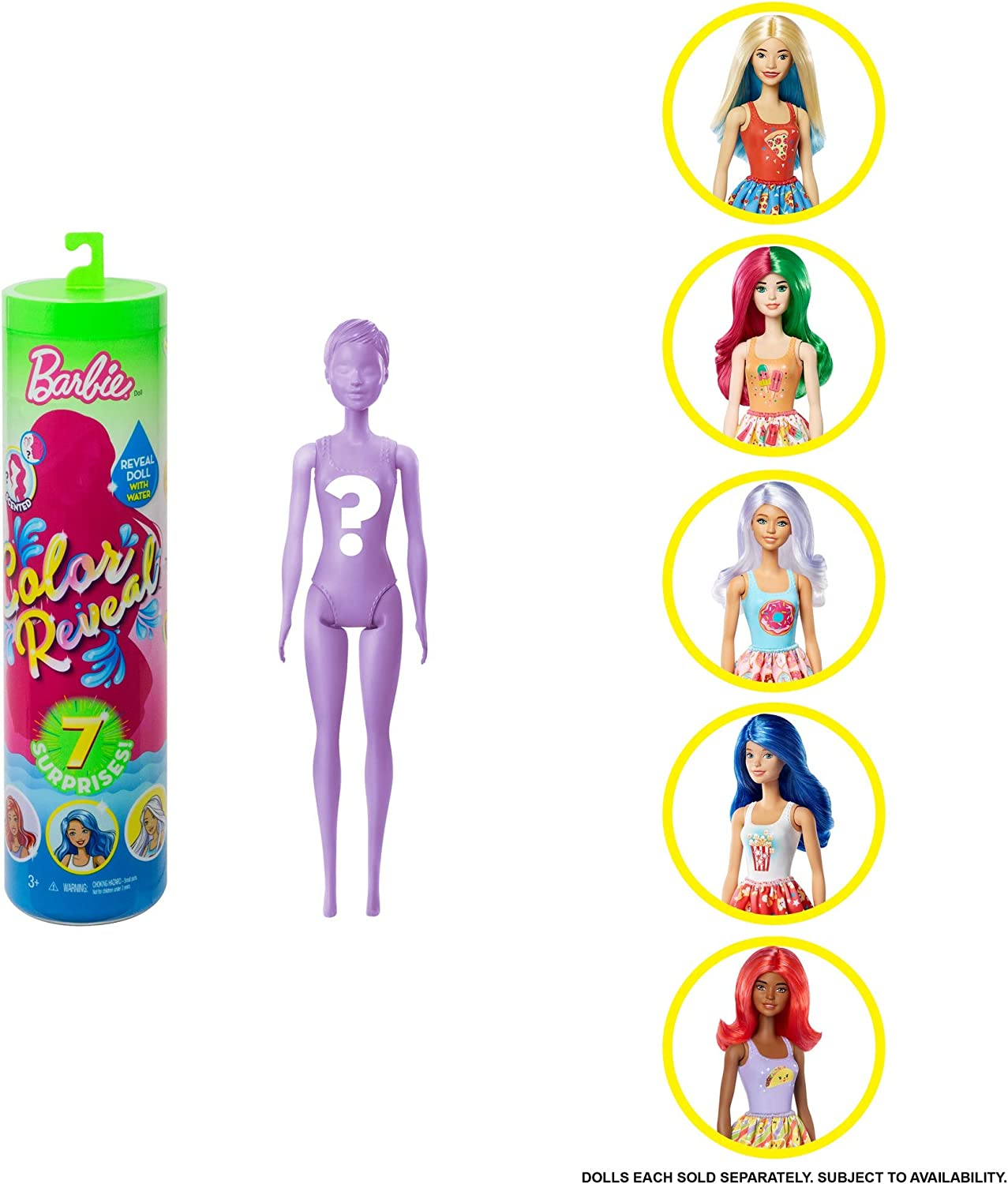 Barbie Color Reveal Doll with 7 Surprises: Water Reveals Doll's Look & Creates Color Change on Face & Sculpted Hair; 4 Mystery Bags Contain Surprise Scented Wig, Skirt, Shoes & Sponge; Food-Themed