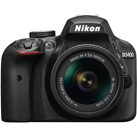 Nikon D3400 24.2 MP Digital SLR Camera  Black  + AF P DX Nikkor 18 55mm f/3.5 5.6G VR Lens Kit + Memory Card + Camera Bag Digital Cameras