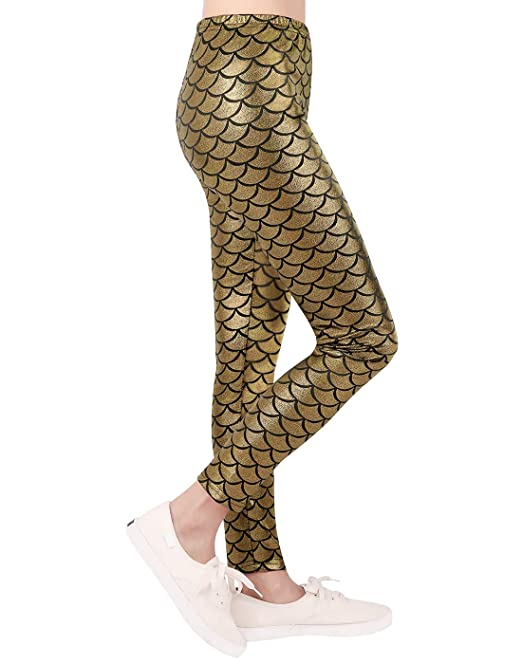 b7133ca16a9d59 HDE Girls Mermaid Leggings - Shiny Fish Scale Leggings Metallic Costume  Tights: Amazon.ca: Clothing & Accessories