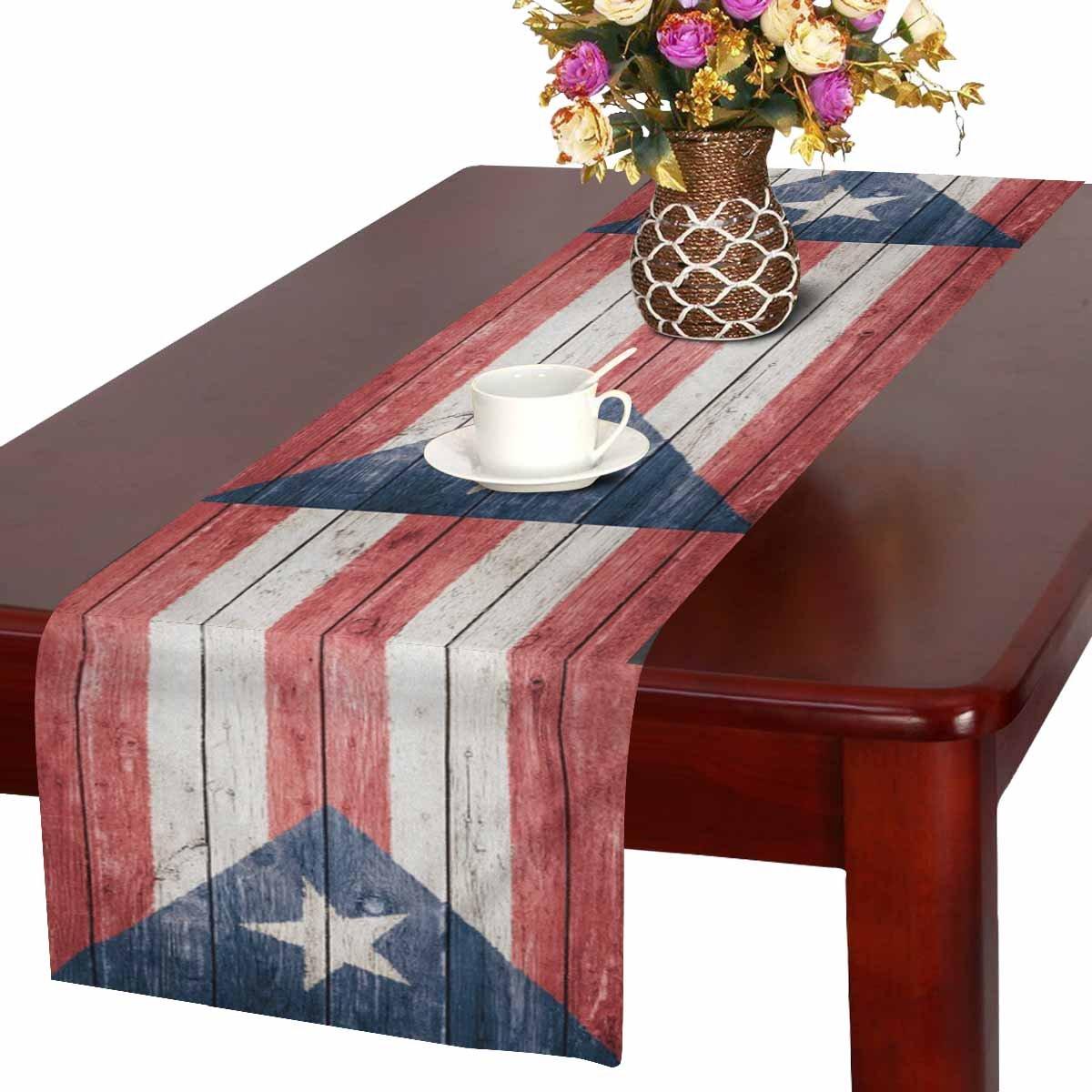 interestprintヴィンテージCanada Flag on古い木製背景テーブルランナーコットンリネン布プレースマットfor Officeキッチンダイニングウェディングパーティー宴会16 x 72インチ 16 x 72 Inches TR0079-K16in  デザイン#11 B07D4FCX3J