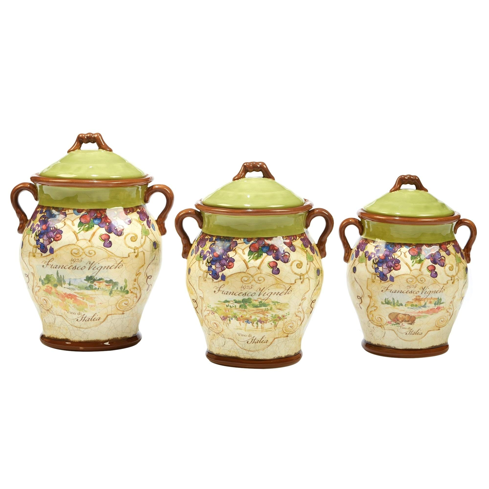 Certified International Vino Canister Set 3 pc. Set