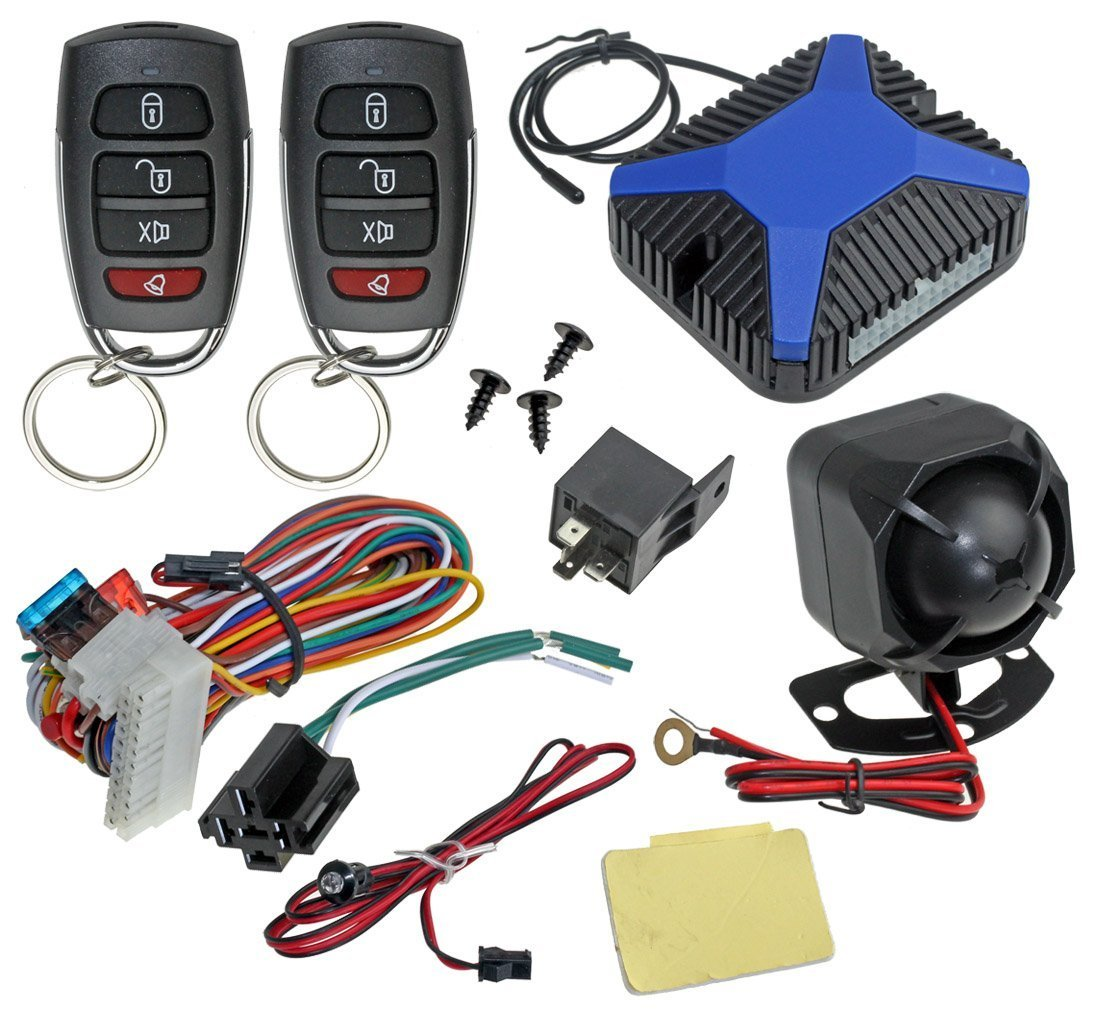 Installgear Car Alarm Security Keyless Entry System 451m Relay Wiring Diagram 5 Wire Trunk Pop With Two 4 Button Remotes Electronics
