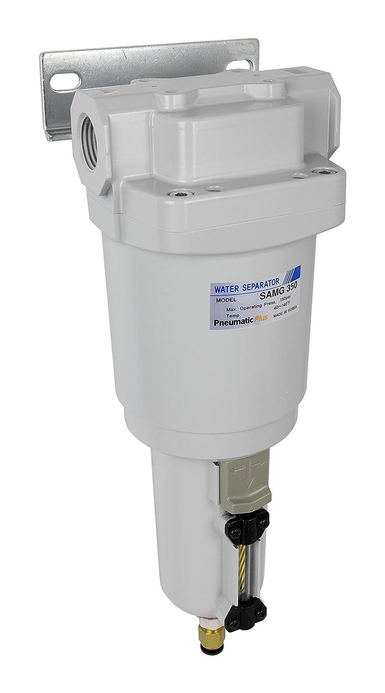 "PneumaticPlus SAMG350-N04BD-MEP Air Drying Unit 1/2"" NPT Water Separator, Metal Bowl Pipetype Sight Glass with N.C. internal Auto Drain, 52 SCFM, Bracket"
