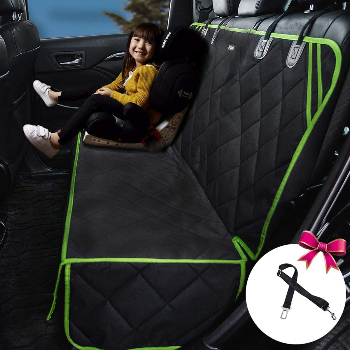 petalage Bench Car Seat Cover Protector – Waterproof, Heavy-Duty and Nonslip Pet Car Seat Cover for Dogs with Universal Size Fits for Cars, Trucks SUV Green Edge