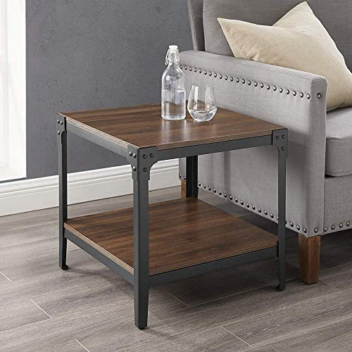 Romatpretty Industrial-Style Side Table with Storage Shelf Night Stand,End Table with Thick Table Top Bedroom for Living Room, bedroom, office, study room, Easy Assembly, Rustic Brown